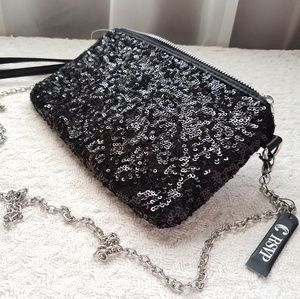 NWT Black sequined clutch/wristlet/evening bag